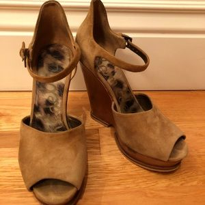 Sam Edelman Suede Wedge Open Toe Sandals